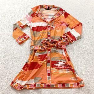 Bcbg maxazria bold orange pink abstract wrap dress